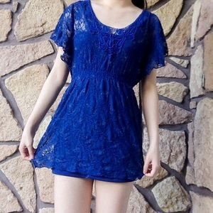 Sequin Hearts Navy Lace Summer Dress